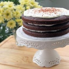 An adult's version of the red velvet cake. The sweetness of the red wine makes this cake perfectly moist and soft.