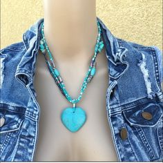 Turquoise Heart necklace Brand new in packaging! Only ONE available- open to offers Jewelry Necklaces