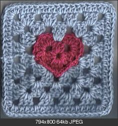 "Granny Heart 6"" Square ~ free pattern (Link is to Crochetville.com so it's safe in spite of what Pinterest says)"