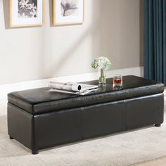 Baxton Studio Dennehy Bonded Leather Storage Bench Ottoman in Black - Overstock™ Shopping - Great Deals on Baxton Studio Ottomans