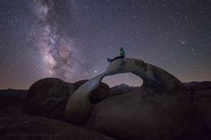 presents  N I G H T S C A P E R  of  the  Day  P H O T O  by  @matthewnewmanphotography  Congratulations to Matthew Mewman of Medford Oregon. - Matt contemplating atop Mobius Arch Alabama Hills California: As I sit alone my eyes draw in your light and the breath fills my spirit. You are with me even through the darkness (Capturing the light in the darkness). Taken with his Canon 6D using a Rokinon 14mm f/2.8 30 sec ISO 6400 processed in LR no PS. This selfie was captured around 3am…