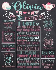 tea party first birthday chalkboard poster vintage rose 1st birthday chalk board sign printable