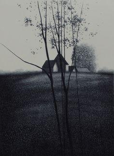 iamjapanese:    Robert Kipniss(American, 1931)  Hilltop II  1976  lithograph on paper