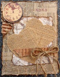 Wedding Scrapbook, Scrapbook Cards, Cool Cards, Diy Cards, Burlap Crafts, Paper Crafts, Burlap Card, Valentines Day Cards Handmade, Karten Diy