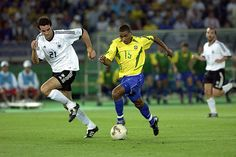 Brazil 2 Germany 0 in 2002 in Yokohama. Christoph Metzelder and Kleberson in action in the World Cup Final.