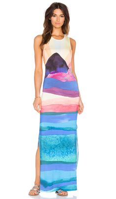 3c2d5ac7cd4 Mara Hoffman Tie Back Maxi Dress in Landscape Beach Cover Ups, Stylish,  Cute Swimsuits