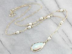 Opal and Pearl Dreamy Lariat Necklace
