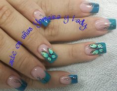 Mariposas Hair And Beauty Salon, My Beauty, Beauty Nails, Butterfly Nail Designs, Cute Nail Designs, French Nails, Soft Nails, Wedding Manicure, Pretty Hands