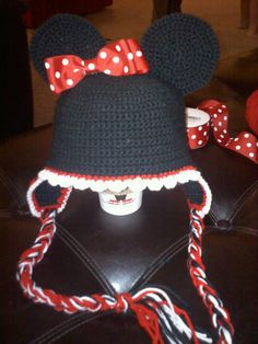 Minnie Mouse hat I made for my niece. I used ribbon for the bow rather then crocheting it.