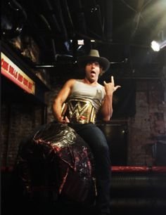 Dean Ambrose takes the #WWE World Heavyweight Championshipfor a ride on Bourbon Street #RAW [x]