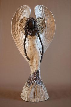 Anjel - kombinovaná technika , pálená glazovaná kamenina , predaný