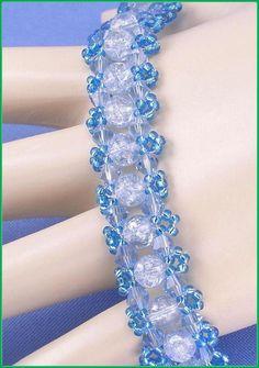 """05-379 SL Sapphire blauw zaad kraal, lichte blauwe Bicone en lichtblauw Crackle glas kralen armband samen met van een knevel gesp. """"GRATIS VERZENDING"""""""
