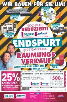 ENDSPURT im sensationellen RÄUMUNGSVERKAUF!  ...weitere Infos auf www.moebel-pilipp.de/aktuelles/veranstaltungen/