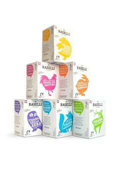 Raselli tea blends are made of organic herbs from the Swiss Alps. Protective aroma sachets preserve the precious scents and flavors of the natural ingredients. Each blend comes in a unique design featuring a signature color and an animal that is characteristic for the alpine area where the organic herbs are grown. The cardboard surface of the box stands for the naturalness of the product while the bright colors and playful illustrations are a promise of joy and pleasure associated with each…