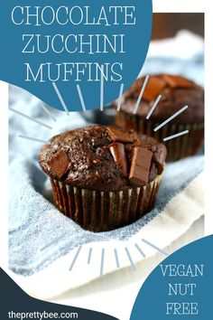 These zucchini muffins are so super light and tender, and they have a great chocolate flavor! This is a great way to use up your garden zucchini. Vegan Dinner Recipes, Delicious Vegan Recipes, Vegan Desserts, Gluten Free Kids Snacks, Dairy Free Recipes, Chocolate Flavors, Vegan Chocolate, Chocolate Zucchini Muffins, Egg Free