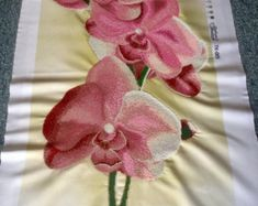 Pink orchids - Picture embroidered with czech beads and framed, Handmade, Framed picture, Beadwork, Embroidered picture, Homedecor