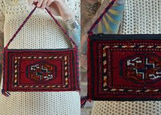 Vintage  Bohemian Turkish Gypsy Mini Walet Kilim Carpet Bag