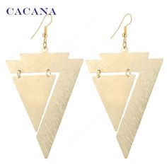 CACANA Gold Plated Dangle Long Earrings For Women Triangle Within Triangle Fashion Bijouterie Hot Sale No.A622A623