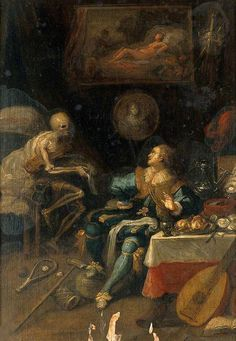 Voluptuary Surprised by Death  by  Frans Francken II  Oil on wood, 35 x 25 cm Collection: Wellcome Library