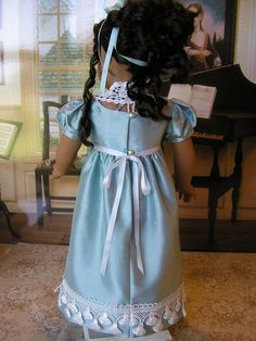 American Girl doll blue silk Regency gown, with extras. $109.00, via Etsy.