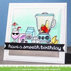 This smoothie themed birthday card features a glass-like looking blender using the Wink of Stella White glitter pen and Glossy Accents. #linktovideoinprofile #lawnfawn #sosmooth