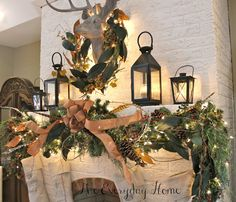 A Woodland Christmas Mantel by The Everyday Home ...I absolutely love,love,love this mantel... I love lush garland...you should always add to: with sprigs, ribbon,lights,pinecones,flowers,twigs