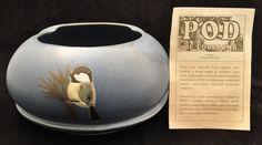 POD of Edgecomb Maine Studio Art Pottery Blue Planter Bowl w Chickadee Bird (08/02/2015)