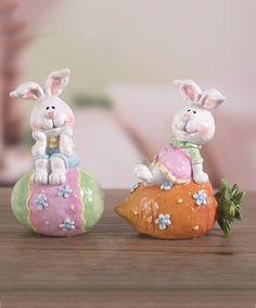 Look at this #zulilyfind! Happy Sitting Bunny Figurine Set #zulilyfinds