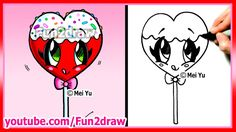 Learn how to draw easy food, sweets, desserts, candy and cute girly things / kawaii stuff step by step for beginners! In this kawaii candy drawing, you can l. Easy Drawings Sketches, Disney Drawings, Cartoon Drawings, Cute Drawings, Heart Drawings, Flower Drawings, Horse Drawings, Drawing Videos For Kids, Easy Drawings For Beginners