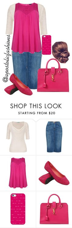 """Apostolic Fashions #914"" by apostolicfashions on Polyvore featuring maurices, Current/Elliott, Casetify and Yves Saint Laurent"