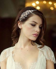 Bridal Headband. swarovski and pearl hairband. by TalyasTreasures