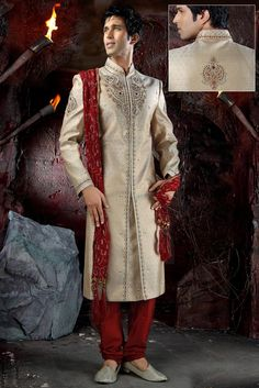 Wedding Sherwani is made specially for scintillating the looks of Groom on the day of wedding. Indian grooms by wearing the splendid Wedding Sherwani: Indian Wedding Clothes For Men, Wedding Dress Men, Indian Wedding Outfits, Wedding Suits, Indian Outfits, Indian Clothes, Indian Weddings, Wedding Attire, Wedding Couples