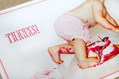 """I typically think """"cake smash"""" photo shoots are cheesy, but it makes sense as a post-bday thank you card."""