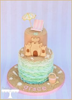 Pastel Beach Cake www.facebook.com/i.love.cuteology.cakes
