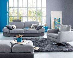 Couleur peinture salon degrade de gris clair et gris galet Deco salon gris et bleu