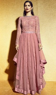 Salmon Color Net Embroidered Floor Length Anarkali Suit
