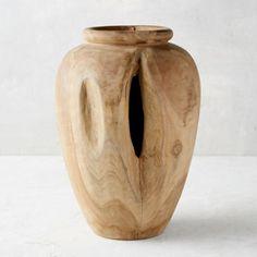 Carved Teak Urn