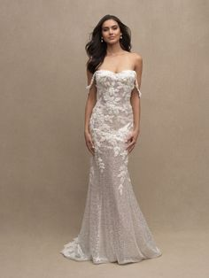 Intricately beaded lace appliqués add dimension to the stunning sequined fabric of this off-shoulder gown. Allure Bridals   Style: C626 Fitted Wedding Gown, Fit And Flare Wedding Dress, Stunning Wedding Dresses, Fit N Flare Dress, Couture Wedding Gowns, Bridal Wedding Dresses, Bridal Style, Bridesmaid Dresses, Lace Wedding
