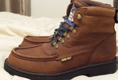 Georgia Boot Size 7.5 Medium Comfort Core Brown Leather Lace UP Goretex  #GeorgiaBoot #AnkleBoots