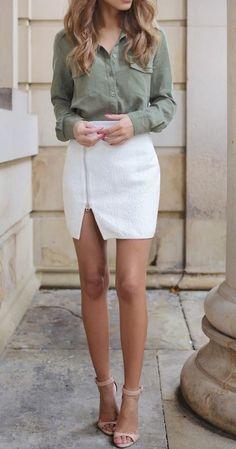 white mini skirt + army khaki blouse.