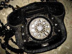 MARY FRANCES TELEPHONE BLACK & SILVER ELEGANT HANDBAG PURSE COLLECTIBLE #MARYFRANCES #Clutch