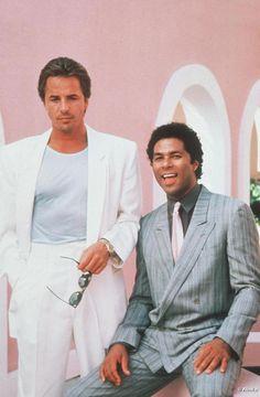 Don Johnson as 'Sonny Crockett' & Philip Michael Thomas as 'Rico Tubbs' in Miami Vice (1984-89, NBC)