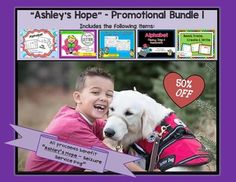 """This is a bundle of 5 products in 1 zip file. You save $11 or HALF OFF the regular individual prices of each of these items.* This is a promotion to benefit """"Ashley's Hope"""" to receive a service dog. All proceeds go directly to help with her disability."""