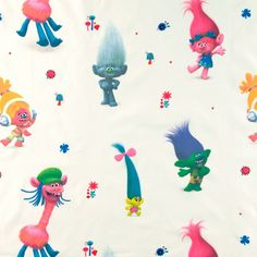 Cotton white with Trolls DreamWorks movie. Dreamworks Movies, Buy Cheap, Troll, Spring Summer, Disney, Fabric, Cotton, Kids, Stuff To Buy