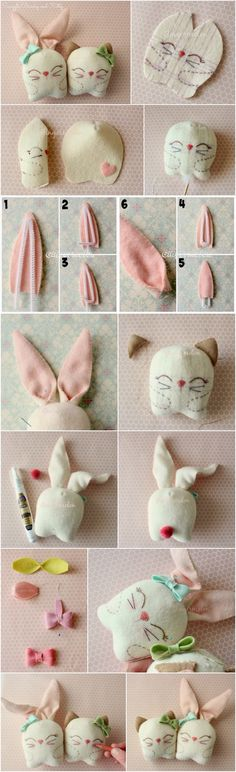 What you'll need: :  6×8 inch felt for main body                                         :  4×4 inch felt for kitty's ears :  6×6 inch felt for bunny's…