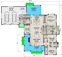 Plan Modern 3 Bed Farmhouse With Vaulted Open Concept Interior 2200 Sq Ft House Plans, New House Plans, Dream House Plans, Small House Plans, House Floor Plans, L Shaped House Plans, Modern Farmhouse Plans, Farmhouse Interior, Interior Modern