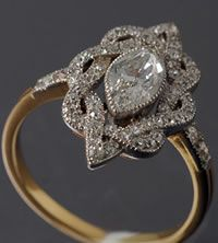 platinum and 18ct yellow gold French fine quality Edwardian marquise diamond ring