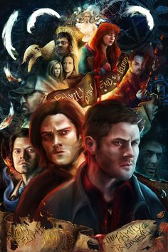 Finally a Supernatural Print! It's been forever that i've wanted to do a print for my favorite show and haven't thought of anything good or got around t. Family Don't End With Blood Supernatural Fans, Castiel, Supernatural Poster, Supernatural Drawings, Supernatural Wallpaper, Satan, Sherlock Doctor Who, Blood Art, Fanart