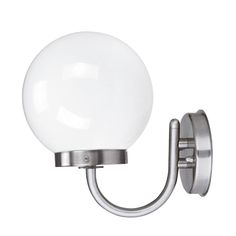 Jesco Lighting (GS50S68) Globe series. Wall Sconce with Opal White Globe and Brushed stainless steel.