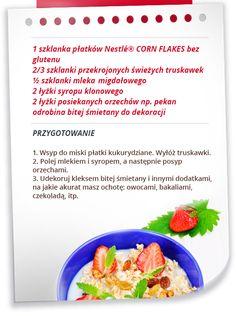 Płatki kukurydziane z mlekiem migdałowym i truskawkami